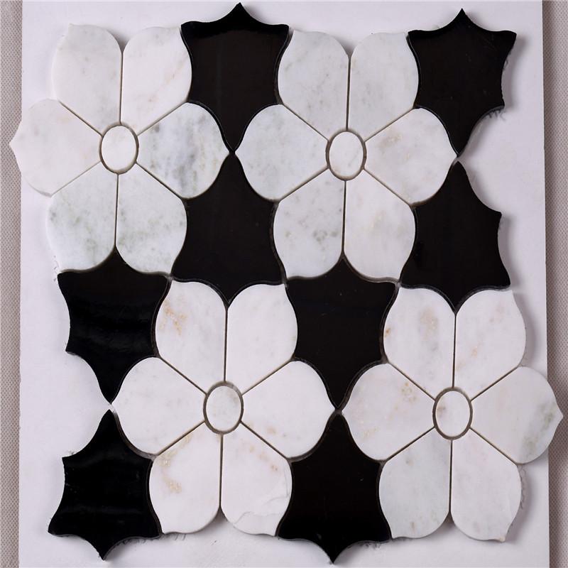 hsc62 wunderschöne schwarze und weiße fliesen bad mit blume marmor ...